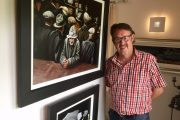 Artist Tim Whitley pops in to say good bye to his amazing painting